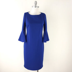 Jessica H M 8 Royal Blue Crepe dress bell Sleeve